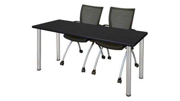 "Training Tables Regency Furniture 66"" x 24"" Training Table- Mocha Walnut/ Chrome & 2 Apprentice Chairs- Black"