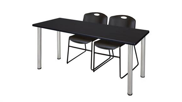 "Training Tables Regency Furniture 66"" x 24"" Training Table- Mocha Walnut/ Chrome & 2 Zeng Stack Chairs"