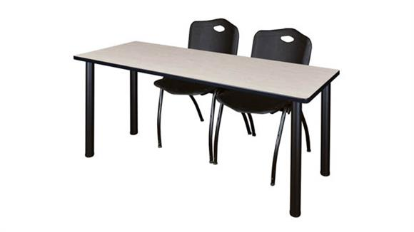 "Training Tables Regency Furniture 66"" x 24"" Training Table- Maple/ Black & 2"