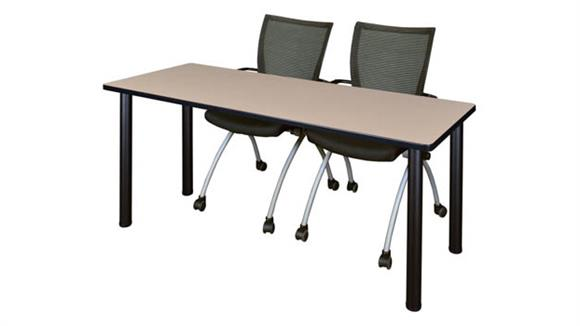 "Training Tables Regency Furniture 72"" x 24"" Training Table- Beige/ Black & 2 Apprentice Chairs- Black"