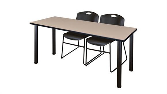 "Training Tables Regency Furniture 72"" x 24"" Training Table- Beige/ Black & 2 Zeng Stack Chairs"