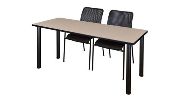 "Training Tables Regency Furniture 72"" x 24"" Training Table- Beige/ Black & 2 Mario Stack Chairs- Black"