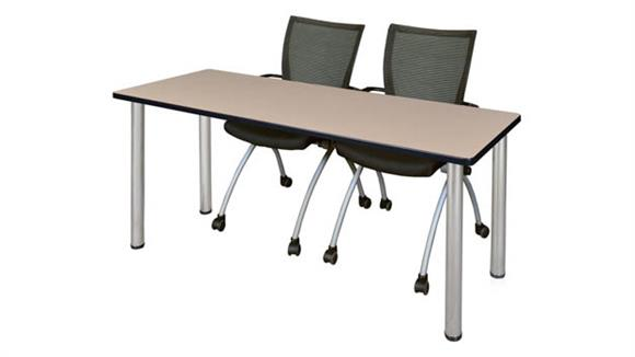 "Training Tables Regency Furniture 72"" x 24"" Training Table- Beige/ Chrome & 2 Apprentice Chairs- Black"