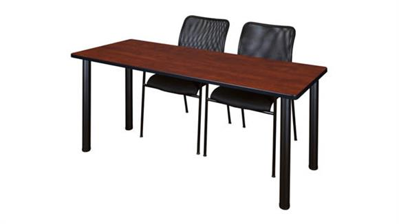 "Training Tables Regency Furniture 72"" x 24"" Training Table- Cherry/ Black & 2 Mario Stack Chairs- Black"