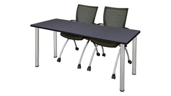 "Training Tables Regency Furniture 72"" x 24"" Training Table- Gray/ Chrome & 2 Apprentice Chairs- Black"