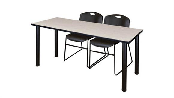 "Training Tables Regency Furniture 72"" x 24"" Training Table- Maple/ Black & 2 Zeng Stack Chairs"