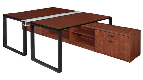 "Workstations & Cubicles Regency Furniture 60"" x 24"" 2 Desk Workstation System with Low Credenza Storage"