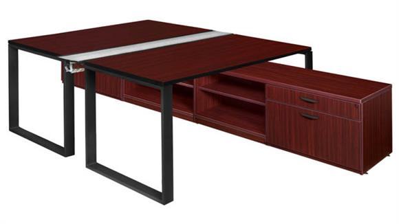 "Workstations & Cubicles Regency Furniture 66"" x 24"" 2 Desk Workstation System with Low Credenza Storage"