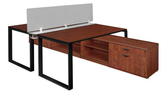 "Workstations & Cubicles Regency Furniture 60"" x 24"" 2 Desk Workstation System with Privacy Divider and Low Credenza Storage"