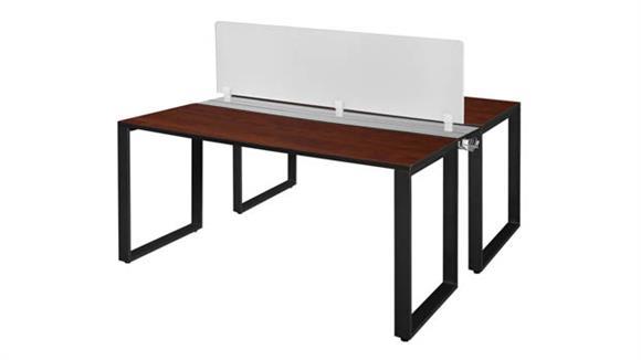 """Workstations & Cubicles Regency Furniture 66"""" x 24"""" 2 Desk Workstation System with Privacy Divider"""