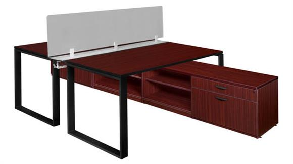 "Workstations & Cubicles Regency Furniture 66"" x 24"" 2 Desk Workstation System with Privacy Divider and Low Credenza Storage"