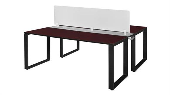 """Workstations & Cubicles Regency Furniture 72"""" x 24"""" 2 Desk Workstation System with Privacy Divider"""