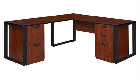 """L Shaped Desks Regency Furniture 66"""" x 30"""" Double Pedestal L-Shaped Desk with 42"""" Return"""