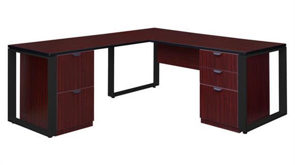 """L Shaped Desks Regency Furniture 66"""" x 30"""" Double Pedestal L-Shaped Desk with 48"""" Return"""