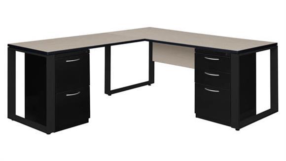 """L Shaped Desks Regency Furniture 72"""" x 30"""" Double Metal Pedestal L-Shaped Desk with 48"""" Return"""