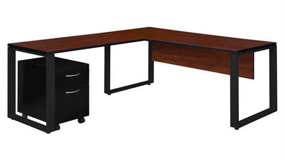 """L Shaped Desks Regency Furniture 72"""" x 30"""" Single Mobile Pedestal L-Shaped Desk with 42"""" Return"""