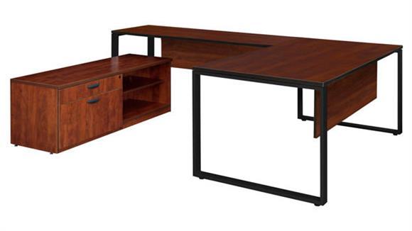 """U Shaped Desks Regency Furniture 72"""" x 30"""" U-Shaped Desk with Laminate Low Credenza"""