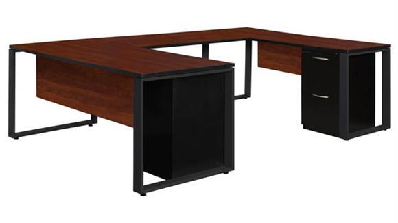 "U Shaped Desks Regency Furniture 66"" x 30"" Double Metal Pedestal U-Shaped Desk with 42"" Bridge"