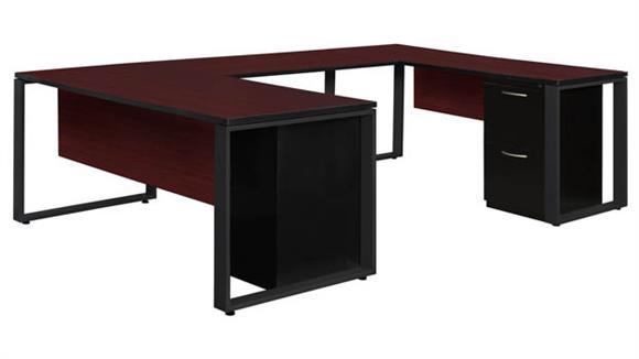 "U Shaped Desks Regency Furniture 66"" x 30"" Double Metal Pedestal U-Shaped Desk with 48"" Bridge"