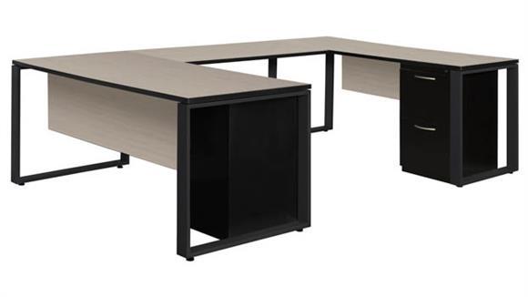 "U Shaped Desks Regency Furniture 72"" x 30"" Double Metal Pedestal U-Shaped Desk with 48"" Bridge"