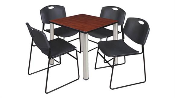 "Cafeteria Tables Regency Furniture 30"" Square Breakroom Table- Cherry/ Chrome & 4 Zeng Stack Chairs"