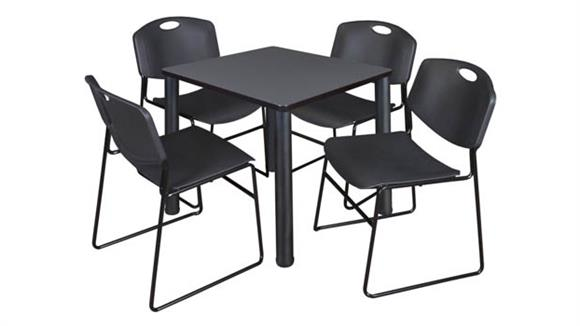 "Cafeteria Tables Regency Furniture 30"" Square Breakroom Table- Gray/ Black & 4  Zeng Stack Chairs"