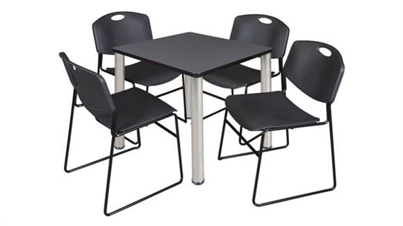 "Cafeteria Tables Regency Furniture 30"" Square Breakroom Table- Gray/ Chrome & 4 Zeng Stack Chairs"