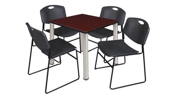 "Cafeteria Tables Regency Furniture 30"" Square Breakroom Table- Mahogany/ Chrome & 4 Zeng Stack Chairs"
