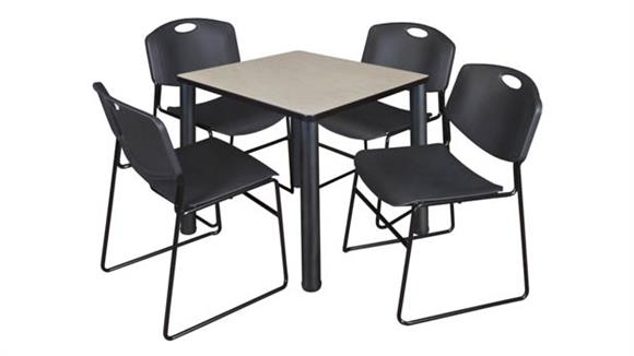 "Cafeteria Tables Regency Furniture 30"" Square Breakroom Table- Maple/ Black & 4 Zeng Stack Chairs"