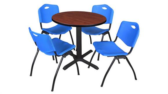 "Cafeteria Tables Regency Furniture 30"" Round Breakroom Table- Cherry & 4"