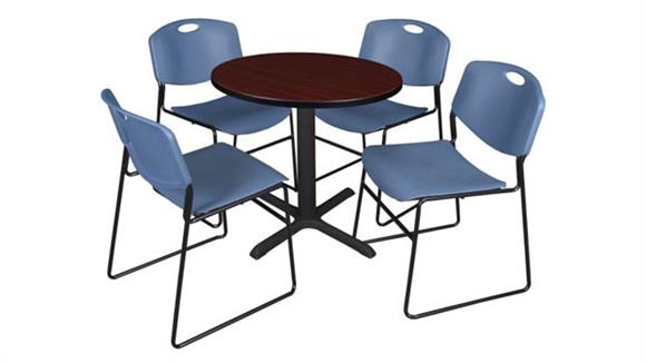 "Cafeteria Tables Regency Furniture 30"" Round Breakroom Table- Mahogany & 4 Zeng Stack Chairs"