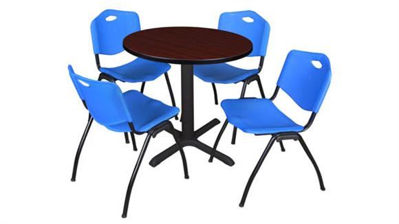 "Cafeteria Tables Regency Furniture 30"" Round Breakroom Table- Mahogany & 4"