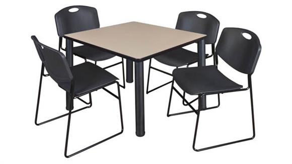"Cafeteria Tables Regency Furniture 36"" Square Breakroom Table- Beige/ Black & 4 Zeng Stack Chairs"