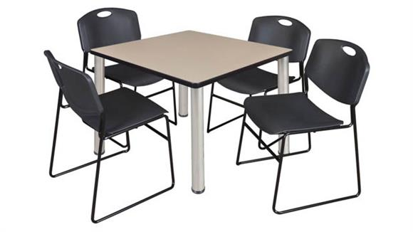 "Cafeteria Tables Regency Furniture 36"" Square Breakroom Table- Beige/ Chrome & 4 Zeng Stack Chairs"