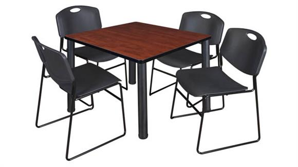 "Cafeteria Tables Regency Furniture 36"" Square Breakroom Table- Cherry/ Black & 4 Zeng Stack Chairs"