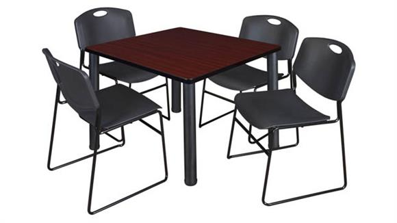 "Cafeteria Tables Regency Furniture 36"" Square Breakroom Table- Mahogany/ Black & 4 Zeng Stack Chairs"