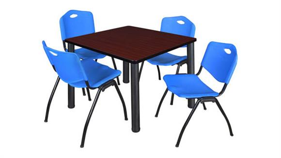 "Cafeteria Tables Regency Furniture 36"" Square Breakroom Table- Mahogany/ Black & 4"