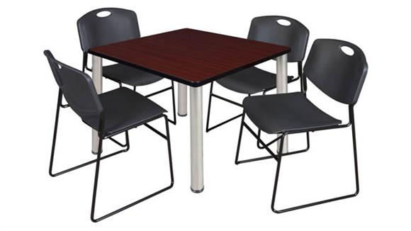 "Cafeteria Tables Regency Furniture 36"" Square Breakroom Table- Mahogany/ Chrome & 4 Zeng Stack Chairs"