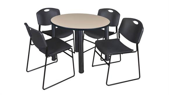 "Cafeteria Tables Regency Furniture 36"" Round Breakroom Table- Beige/ Black & 4 Zeng Stack Chairs"