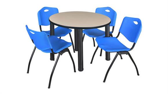 "Cafeteria Tables Regency Furniture 36"" Round Breakroom Table- Beige/ Black & 4"