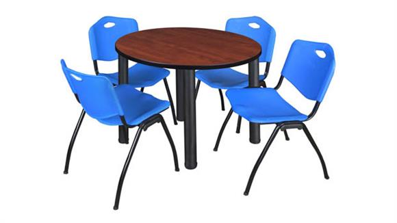"Cafeteria Tables Regency Furniture 36"" Round Breakroom Table- Cherry/ Black & 4"