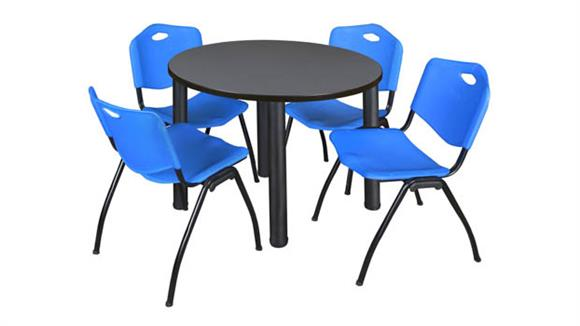 "Cafeteria Tables Regency Furniture 36"" Round Breakroom Table- Gray/ Black & 4"