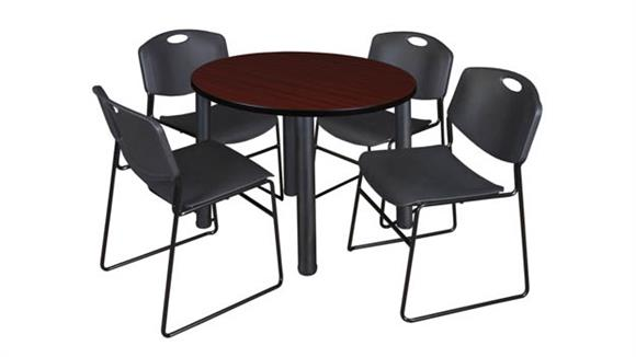 "Cafeteria Tables Regency Furniture 36"" Round Breakroom Table- Mahogany/ Black & 4 Zeng Stack Chairs"