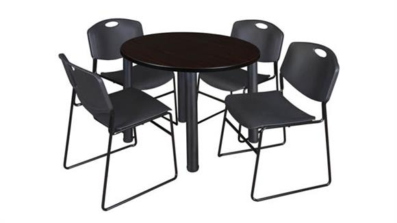 "Cafeteria Tables Regency Furniture 36"" Round Breakroom Table- Mocha Walnut/ Black & 4 Zeng Stack Chairs"