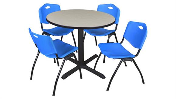 "Cafeteria Tables Regency Furniture 36"" Round Breakroom Table- Maple & 4"