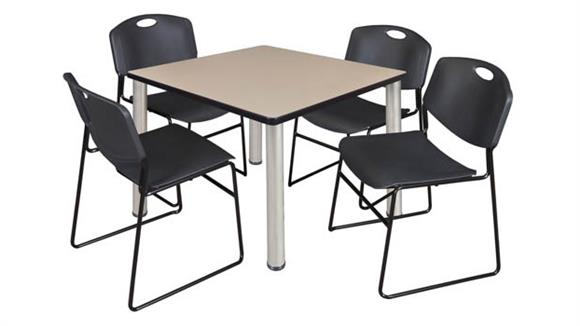 "Cafeteria Tables Regency Furniture 42"" Square Breakroom Table- Beige/ Chrome & 4 Zeng Stack Chairs"