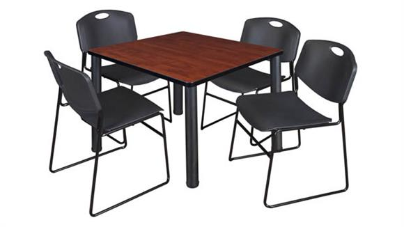 "Cafeteria Tables Regency Furniture 42"" Square Breakroom Table- Cherry/ Black & 4 Zeng Stack Chairs"