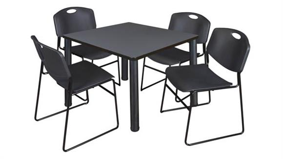 "Cafeteria Tables Regency Furniture 42"" Square Breakroom Table- Gray/ Black & 4 Zeng Stack Chairs"