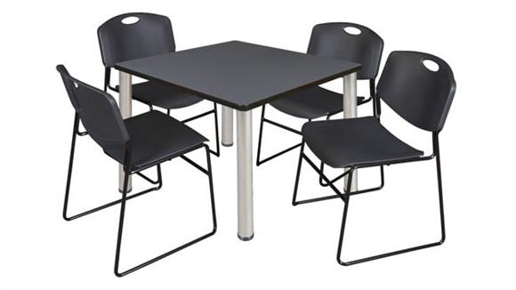 "Cafeteria Tables Regency Furniture 42"" Square Breakroom Table- Gray/ Chrome & 4 Zeng Stack Chairs"
