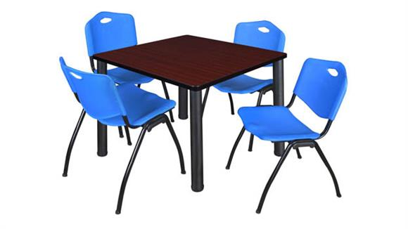 "Cafeteria Tables Regency Furniture 42"" Square Breakroom Table- Mahogany/ Black & 4"